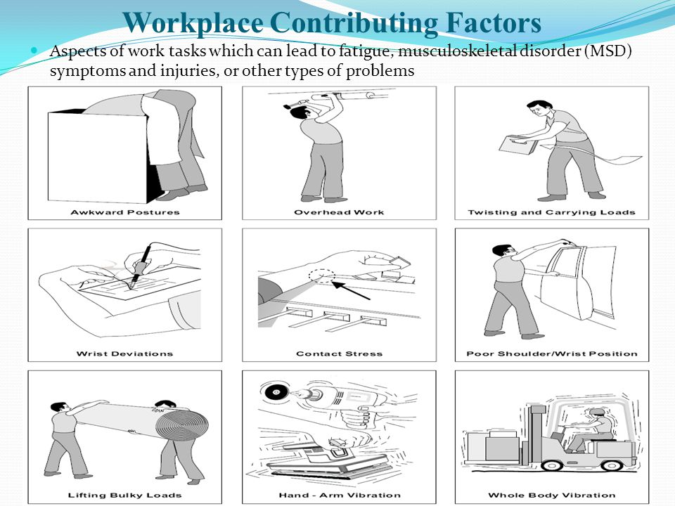 Ergonomics principles during heavy physical work Stand close to objects and feet slightly apart Keep back straight Use both hands and grip with whole hand Place feet in walking position Take help of others