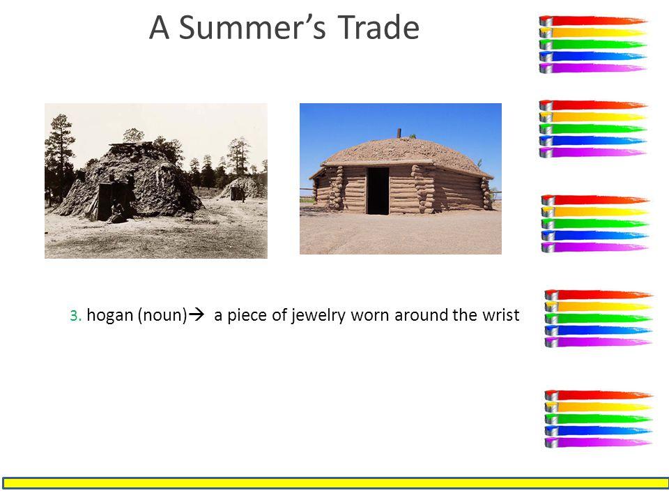 A Summer's Trade 3. hogan (noun)  a piece of jewelry worn around the wrist