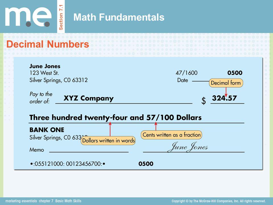 Math Fundamentals Decimal Numbers Section 7.1