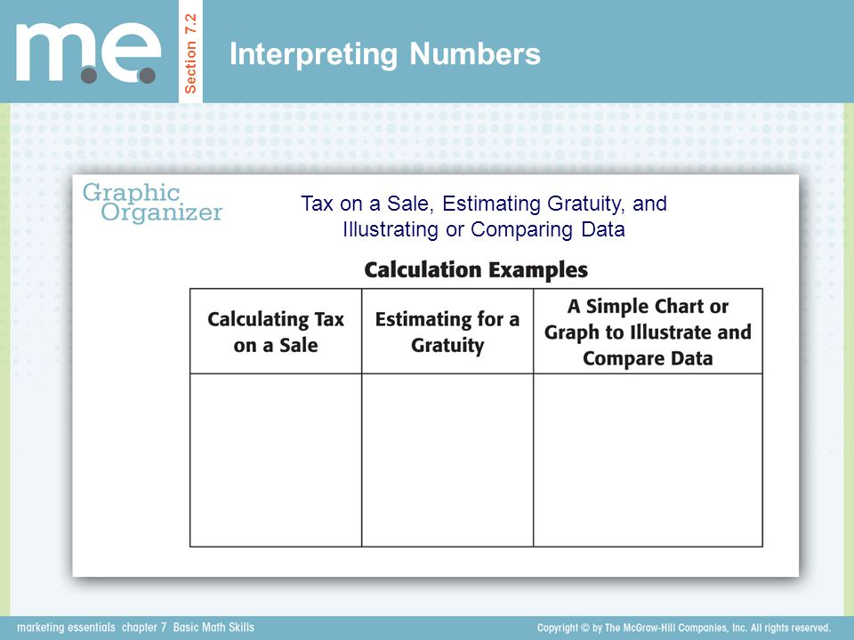 Interpreting Numbers Tax on a Sale, Estimating Gratuity, and Illustrating or Comparing Data Section 7.2