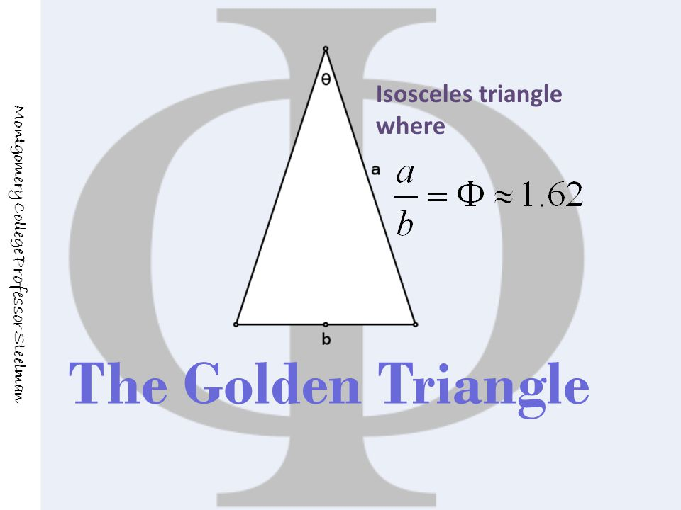 The Golden Triangle Montgomery College Professor Steelman Isosceles triangle where