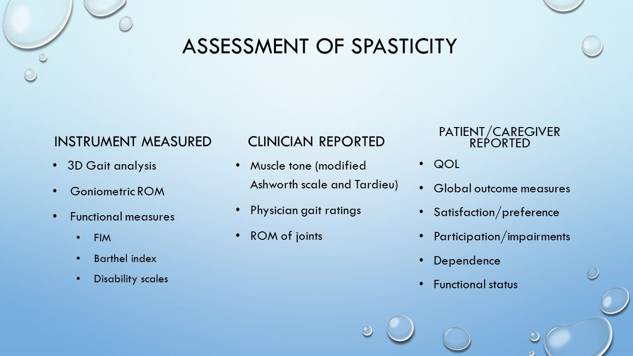ASSESSMENT OF SPASTICITY INSTRUMENT MEASURED 3D Gait analysis Goniometric ROM Functional measures FIM Barthel index Disability scales CLINICIAN REPORT