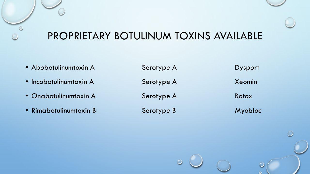 PROPRIETARY BOTULINUM TOXINS AVAILABLE Abobotulinumtoxin ASerotype ADysport Incobotulinumtoxin ASerotype AXeomin Onabotulinumtoxin ASerotype ABotox Ri