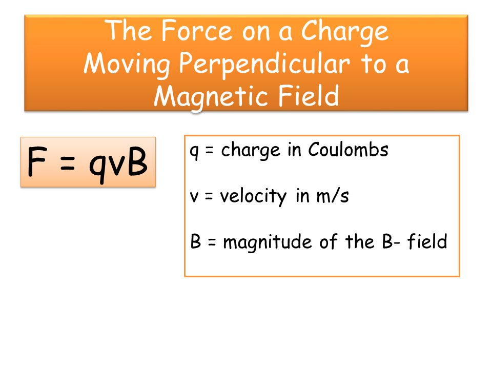 Direction of the Force on a Moving Charge in a B-Field Point the fingers of your right hand in the direction of the velocity.