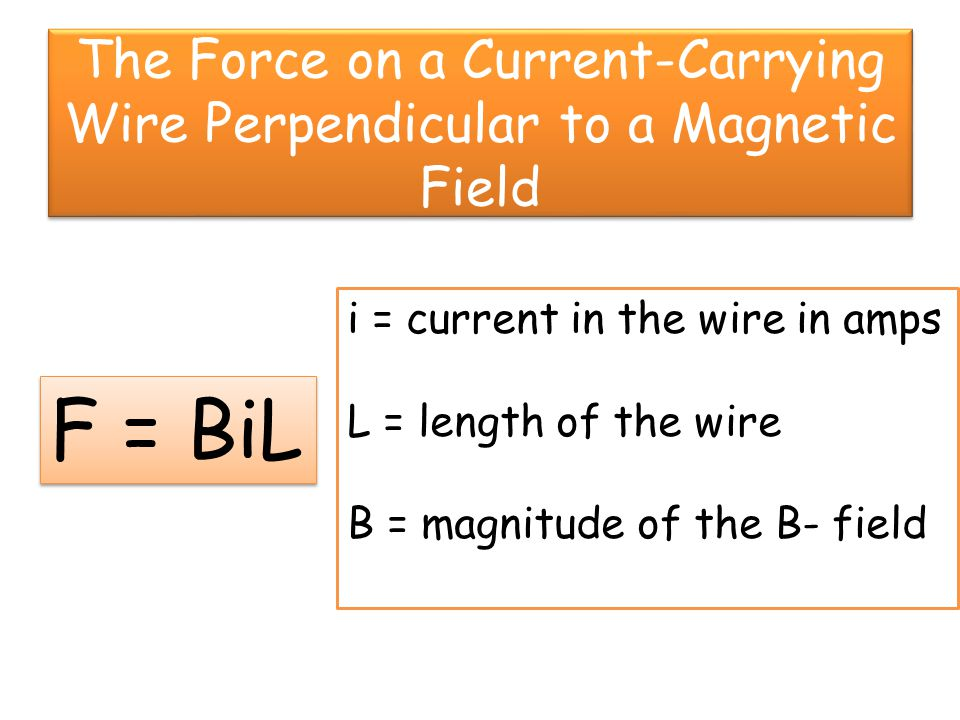 Direction of the Force on a Current-Carrying Wire in a B-Field Point the fingers of your right hand in the direction of the current (i).
