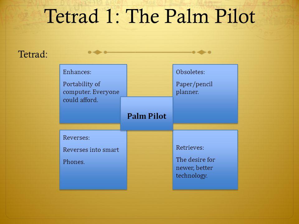 Tetrad 1: The Palm Pilot Tetrad: Enhances: Portability of computer. Everyone could afford. Enhances: Portability of computer. Everyone could afford. O