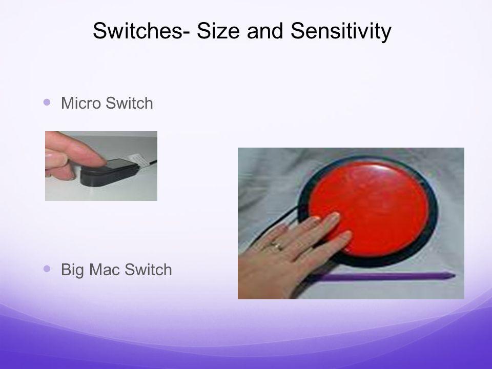 Switches- Size and Sensitivity Micro Switch Big Mac Switch