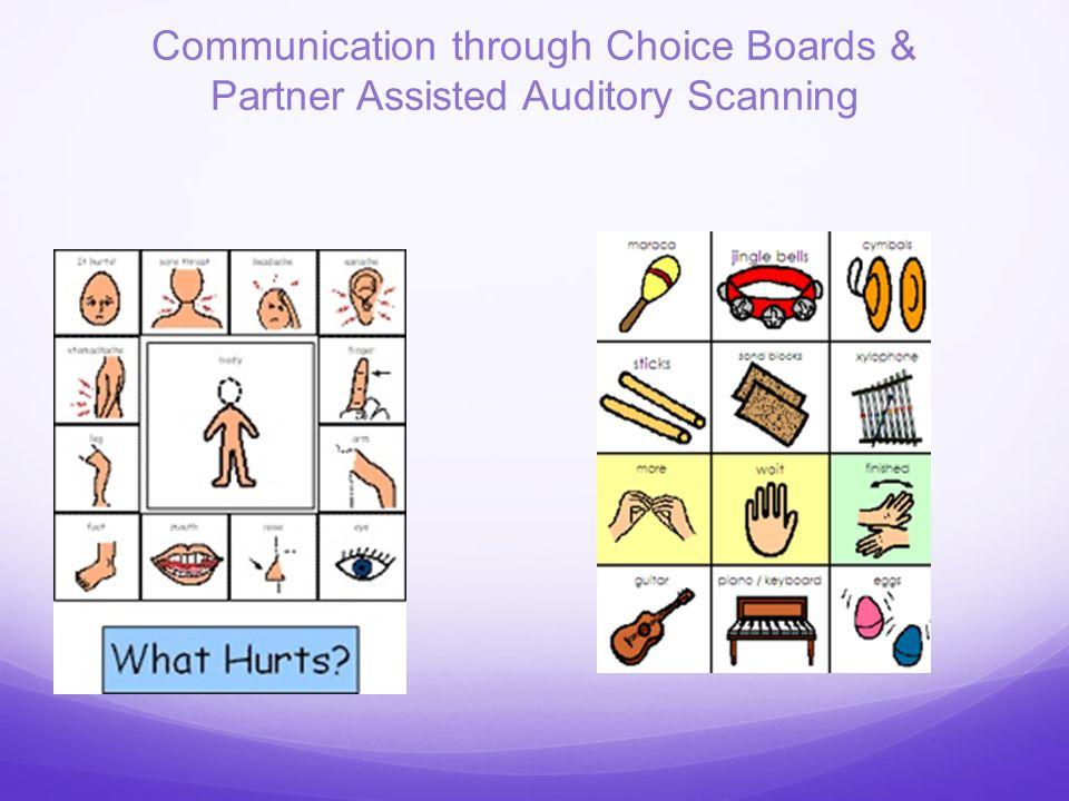 Communication through Choice Boards & Partner Assisted Auditory Scanning