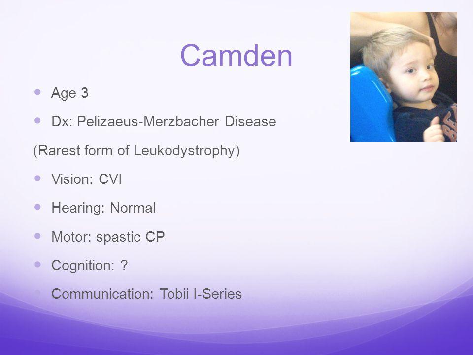 Camden Age 3 Dx: Pelizaeus-Merzbacher Disease (Rarest form of Leukodystrophy) Vision: CVI Hearing: Normal Motor: spastic CP Cognition: ? Communication