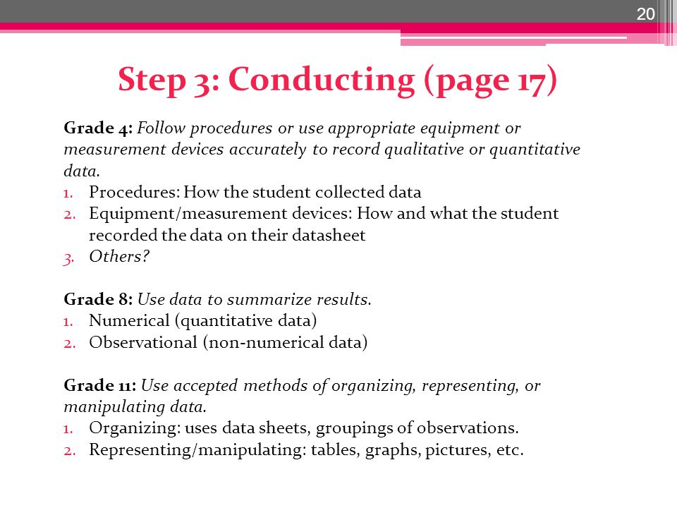 Step 3: Conducting (page 17) 20 Grade 4: Follow procedures or use appropriate equipment or measurement devices accurately to record qualitative or quantitative data.