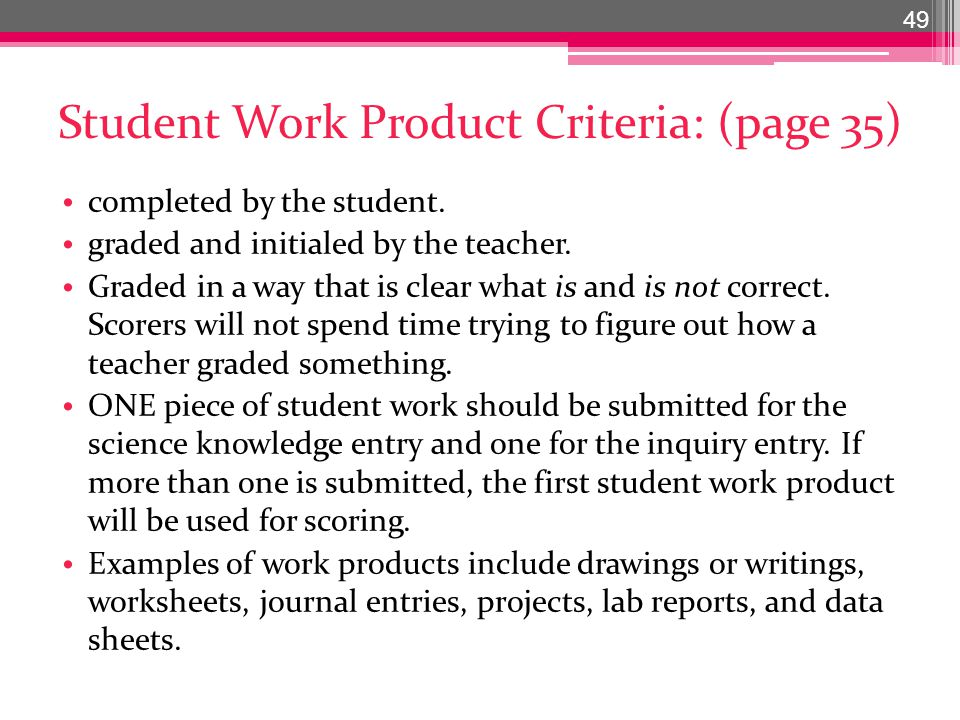 Student Work Product Criteria: (page 35) completed by the student.