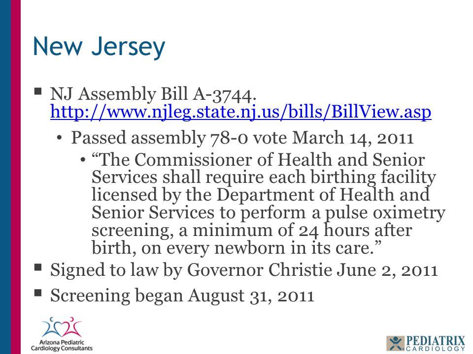 New Jersey  NJ Assembly Bill A-3744. http://www.njleg.state.nj.us/bills/BillView.asp http://www.njleg.state.nj.us/bills/BillView.asp Passed assembly