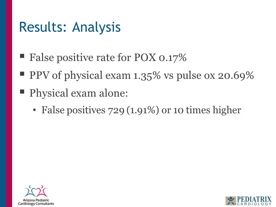 Results: Analysis  False positive rate for POX 0.17%  PPV of physical exam 1.35% vs pulse ox 20.69%  Physical exam alone: False positives 729 (1.91
