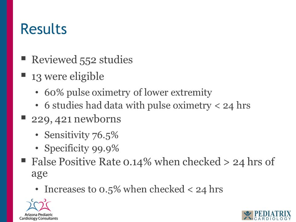 Results  Reviewed 552 studies  13 were eligible 60% pulse oximetry of lower extremity 6 studies had data with pulse oximetry < 24 hrs  229, 421 newborns Sensitivity 76.5% Specificity 99.9%  False Positive Rate 0.14% when checked > 24 hrs of age Increases to 0.5% when checked < 24 hrs