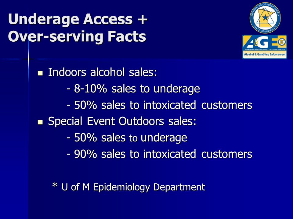 Underage Access + Over-serving Facts Indoors alcohol sales: Indoors alcohol sales: - 8-10% sales to underage - 50% sales to intoxicated customers Special Event Outdoors sales: Special Event Outdoors sales: - 50% sales to underage - 90% sales to intoxicated customers * U of M Epidemiology Department