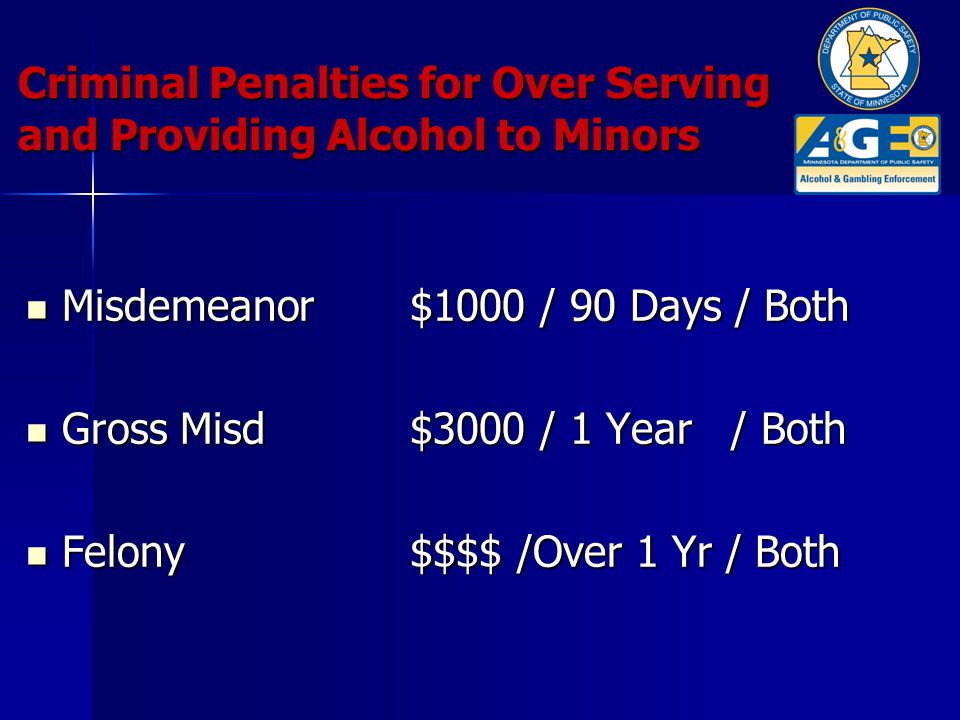 Criminal Penalties for Over Serving and Providing Alcohol to Minors Misdemeanor$1000 / 90 Days / Both Misdemeanor$1000 / 90 Days / Both Gross Misd$3000 / 1 Year / Both Gross Misd$3000 / 1 Year / Both Felony$$$$ /Over 1 Yr / Both Felony$$$$ /Over 1 Yr / Both