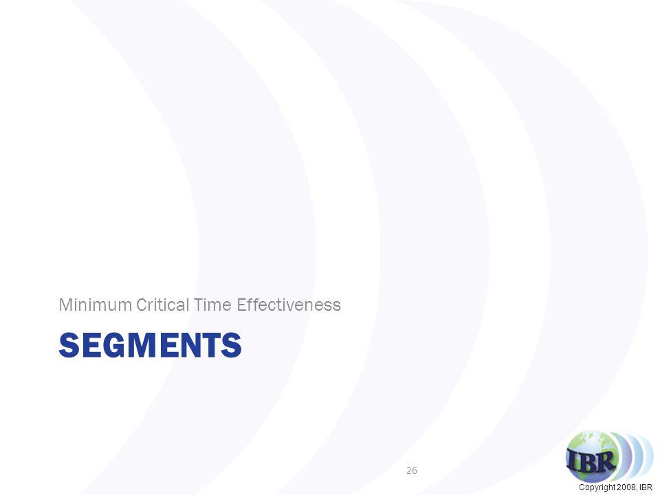 Copyright 2008, IBR SEGMENTS Minimum Critical Time Effectiveness 26