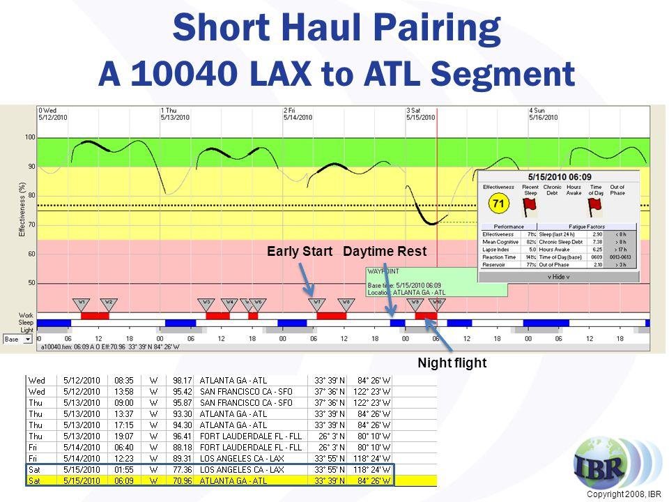 Copyright 2008, IBR Short Haul Pairing A 10040 LAX to ATL Segment 27 Early StartDaytime Rest Night flight