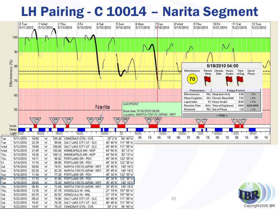 Copyright 2008, IBR LH Pairing - C 10014 – Narita Segment 29 Narita