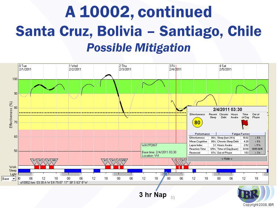 Copyright 2008, IBR A 10002, continued Santa Cruz, Bolivia – Santiago, Chile Possible Mitigation 31 3 hr Nap