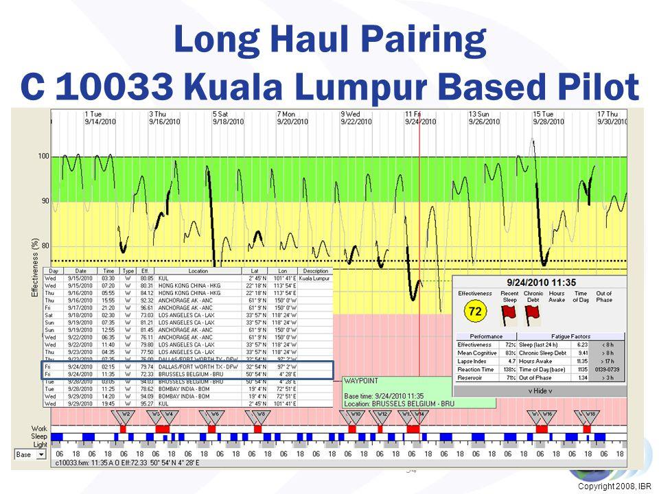 Copyright 2008, IBR Long Haul Pairing C 10033 Kuala Lumpur Based Pilot 34
