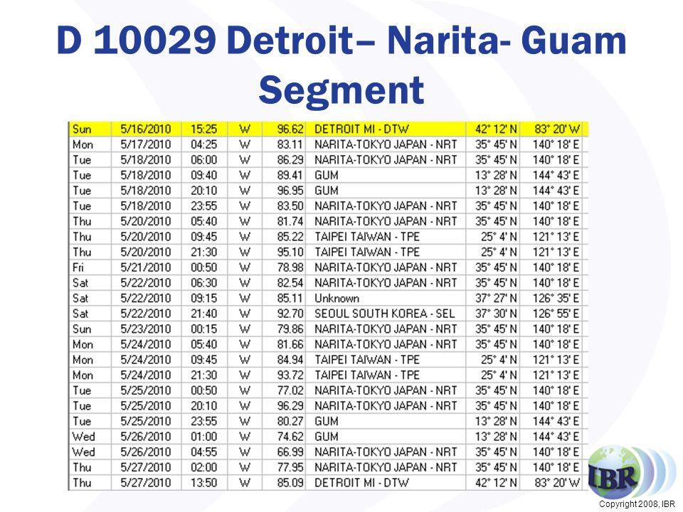Copyright 2008, IBR D 10029 Detroit– Narita- Guam Segment 37