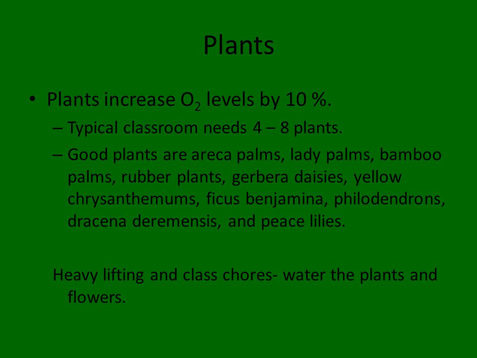 Plants Plants increase O 2 levels by 10 %. – Typical classroom needs 4 – 8 plants.