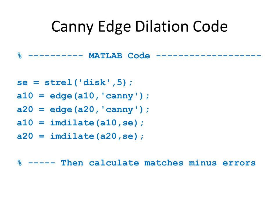 Canny Edge Dilation Code % ---------- MATLAB Code ------------------- se = strel( disk ,5); a10 = edge(a10, canny ); a20 = edge(a20, canny ); a10 = imdilate(a10,se); a20 = imdilate(a20,se); % ----- Then calculate matches minus errors