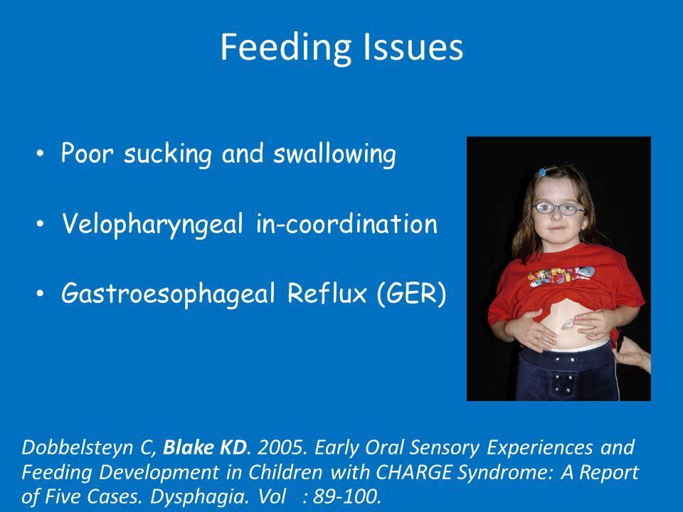 Feeding Issues Poor sucking and swallowing Velopharyngeal in-coordination Gastroesophageal Reflux (GER) Dobbelsteyn C, Blake KD.