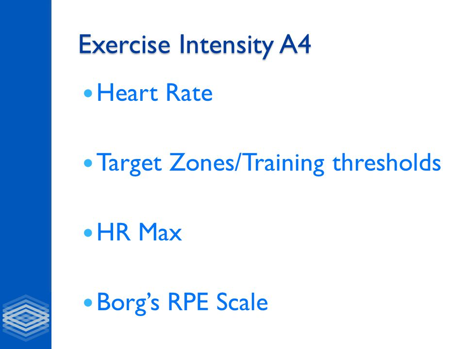 Exercise Intensity A4 Heart Rate Target Zones/Training thresholds HR Max Borg's RPE Scale