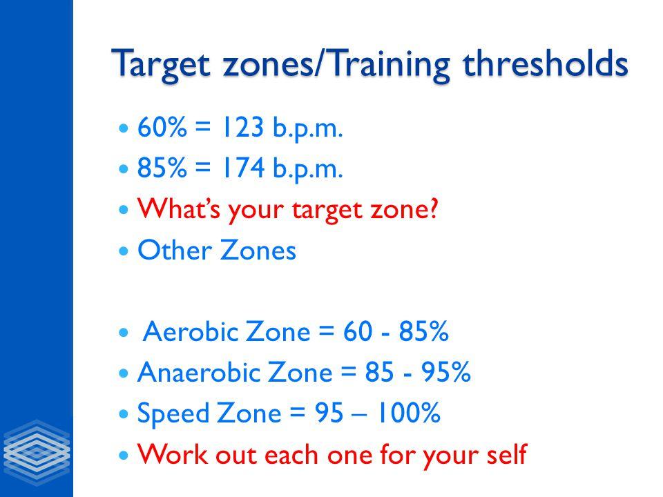 Target zones/Training thresholds 60% = 123 b.p.m. 85% = 174 b.p.m.