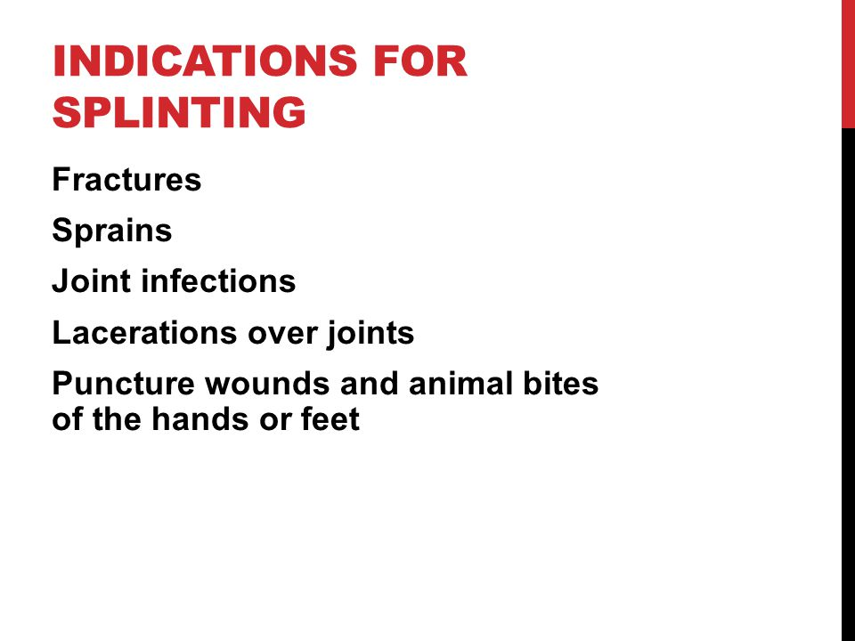 SIGNS FOR SPLINTING Pain and tenderness Deformity or angulation Swelling and discoloration Loss of use Grating or crepitus Exposed bone Joint locked into position or dislocation Bleeding  What's the indication for a traction splint.