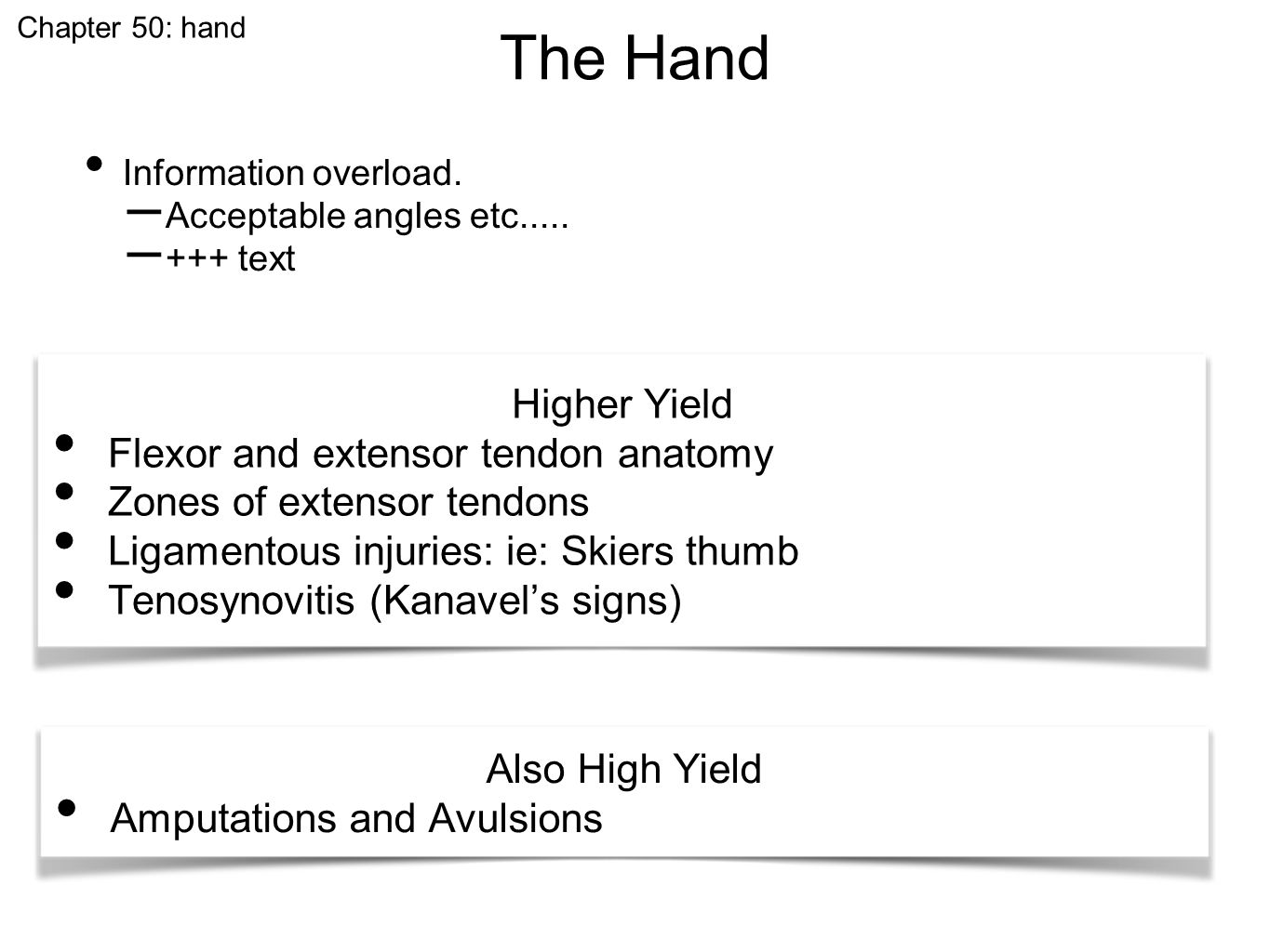 The Hand Chapter 50: hand Information overload. – Acceptable angles etc..... – +++ text Higher Yield Flexor and extensor tendon anatomy Zones of exten