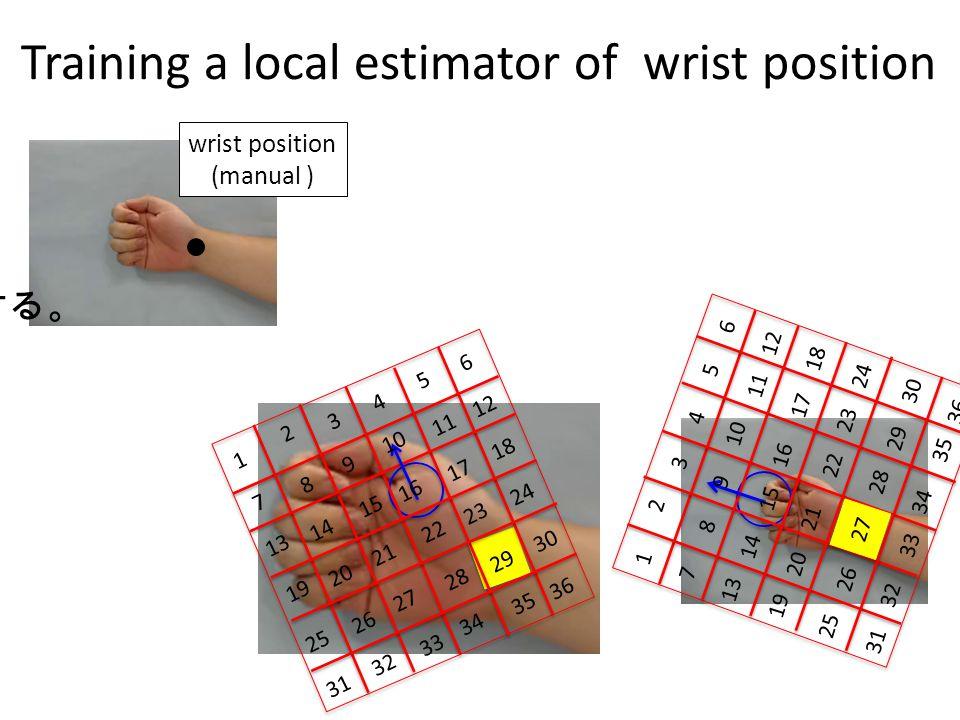 Training a local estimator of wrist position 学習画像に教師信号 (手首位置)を与える SURF 特徴検出 16 12 15 13 14 18 17 19 20 10 11 23 21 9 7 8 6 5 4 3 2 1 22 24 27 25 26 28
