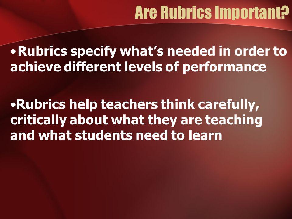 Are Rubrics Important.