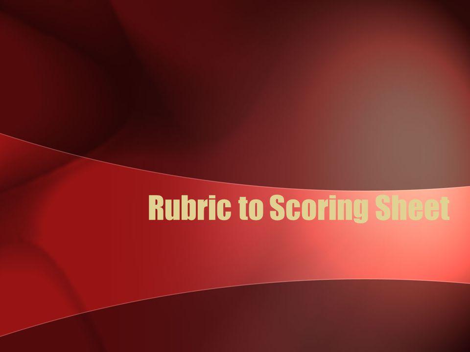 Rubric to Scoring Sheet
