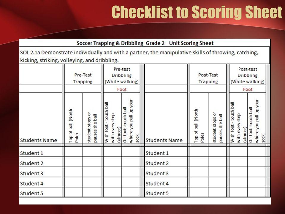 Checklist to Scoring Sheet