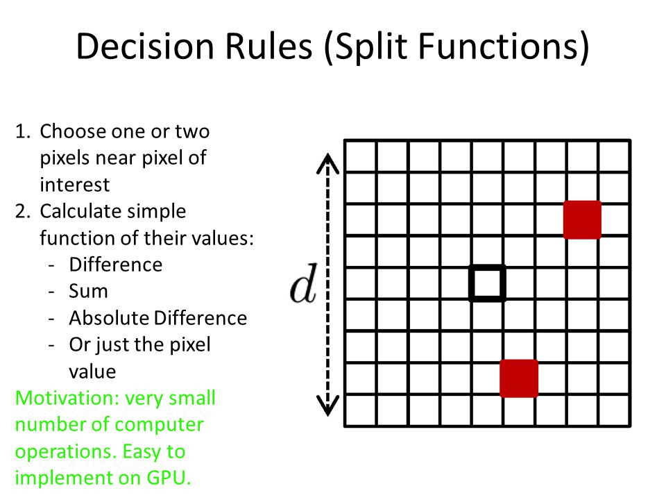 Decision Rules (Split Functions) 1.Choose one or two pixels near pixel of interest 2.Calculate simple function of their values: -Difference -Sum -Absolute Difference -Or just the pixel valuere To a hreshold Motivation: very small number of computer operations.