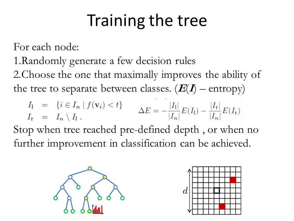 Training the tree For each node: 1.Randomly generate a few decision rules 2.Choose the one that maximally improves the ability of the tree to separate between classes.