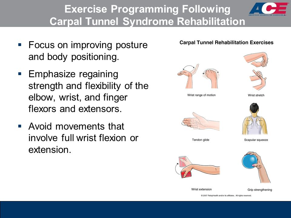 Exercise Programming Following Carpal Tunnel Syndrome Rehabilitation  Focus on improving posture and body positioning.