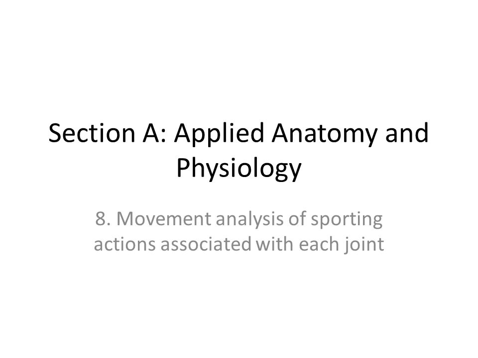 Syllabus Practical analysis of typical sporting actions associated with each joint, to include identification of joint, joint type, movement occurring, working muscles, functions of the muscles, type of contraction
