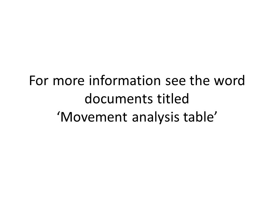 For more information see the word documents titled 'Movement analysis table'