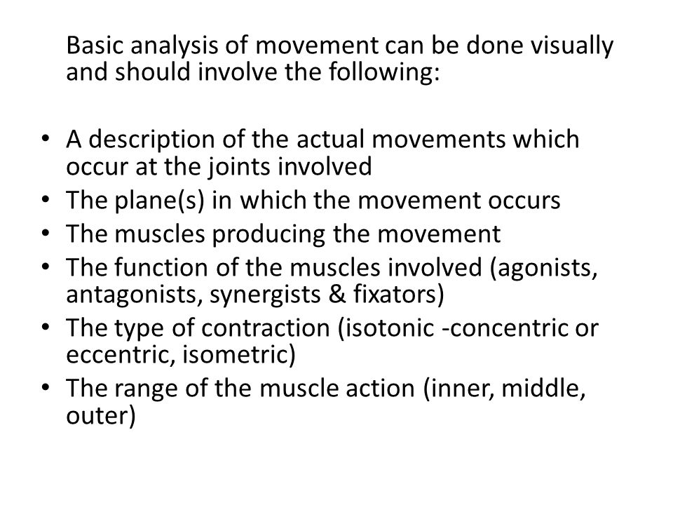Analysis of sprinting The leg action in running is one that takes place in a sagittal plane about a frontal axis and involves the hip, knee and ankle joints.