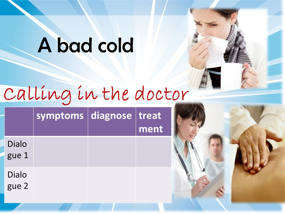 A bad cold Calling in the doctor symptomsdiagnosetreat ment Dialo gue 1 Dialo gue 2