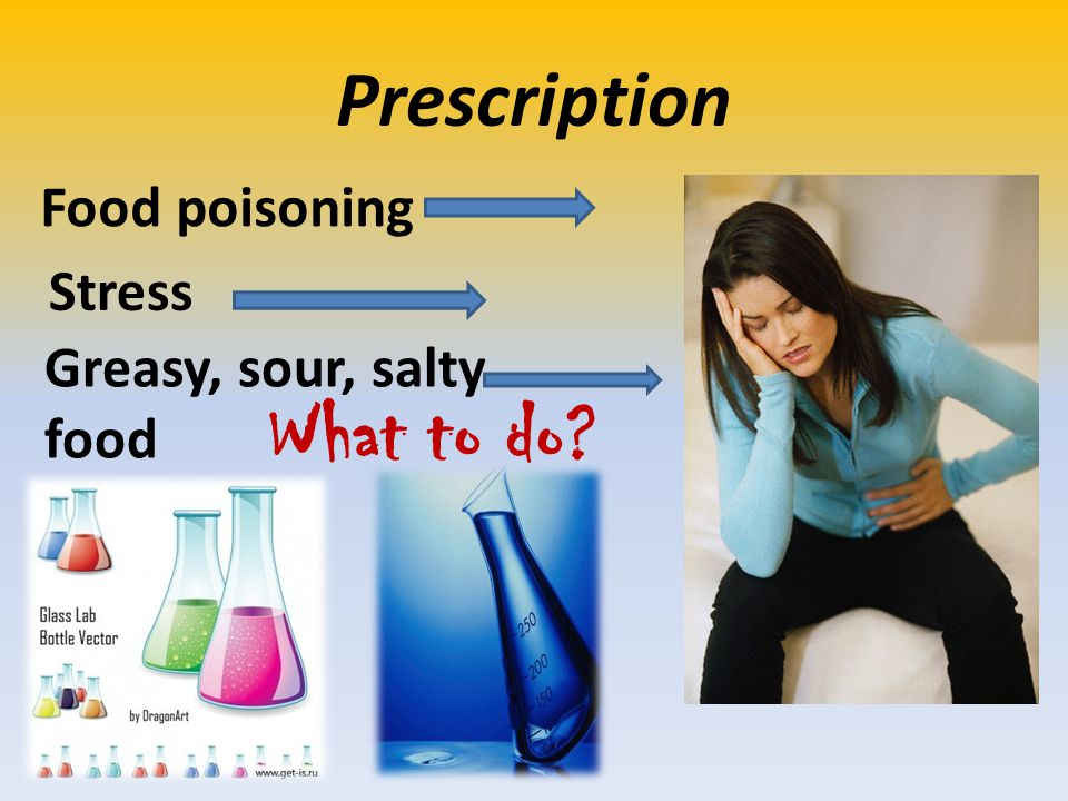 Prescription Food poisoning Stress Greasy, sour, salty food What to do