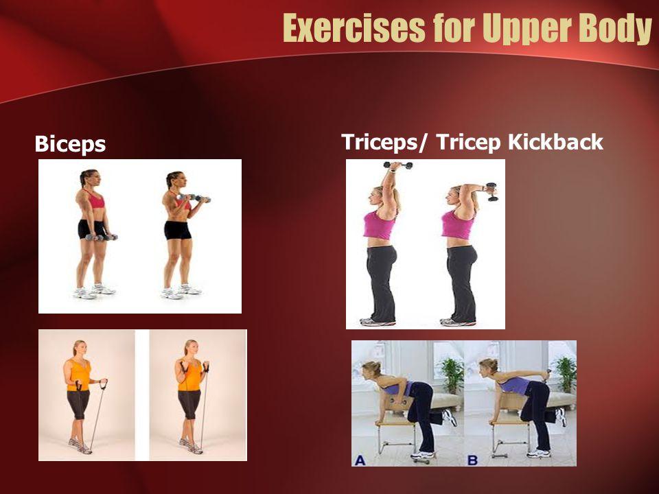 Exercises for Upper Body Biceps Triceps/ Tricep Kickback