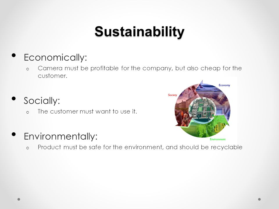 Sustainability Economically: o Camera must be profitable for the company, but also cheap for the customer.