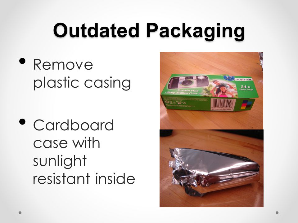 Outdated Packaging Remove plastic casing Cardboard case with sunlight resistant inside