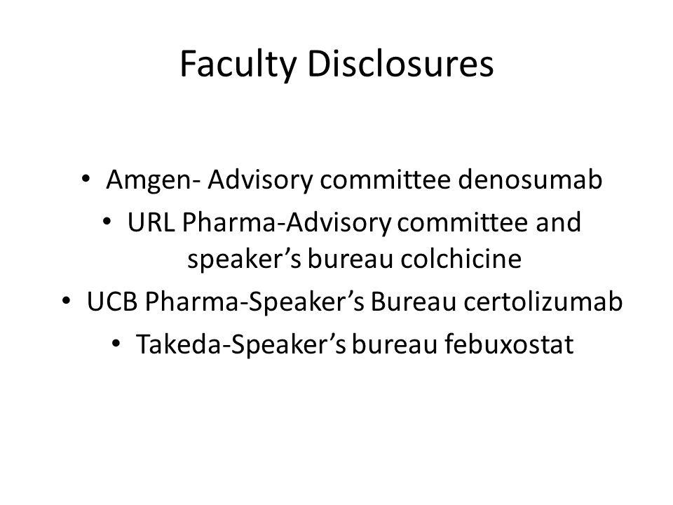 Faculty Disclosures Amgen- Advisory committee denosumab URL Pharma-Advisory committee and speaker's bureau colchicine UCB Pharma-Speaker's Bureau certolizumab Takeda-Speaker's bureau febuxostat