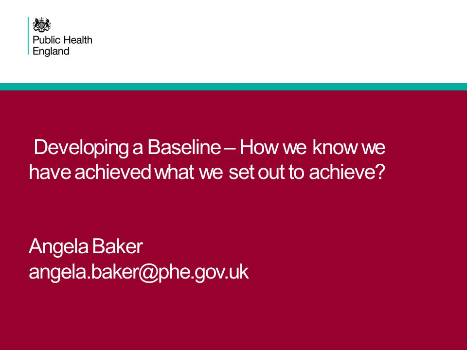 Developing a Baseline – How we know we have achieved what we set out to achieve.
